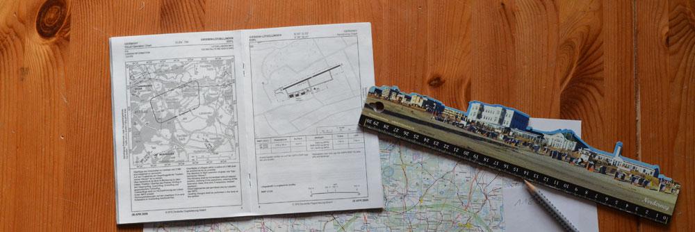 Platzrunde und Anflug, Luftraumkarte, Lineal, Bleistift, Detailkarte